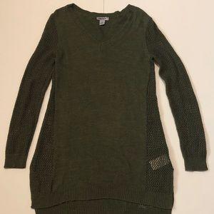 DKNY Women's Medium Sweater Vneck Open Knit Sides